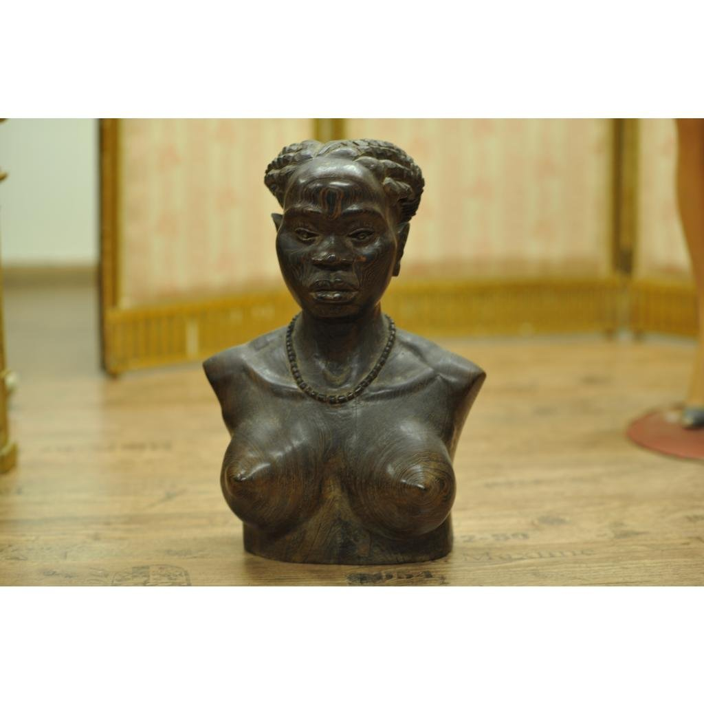 Certified Antique African carved statue of a woman