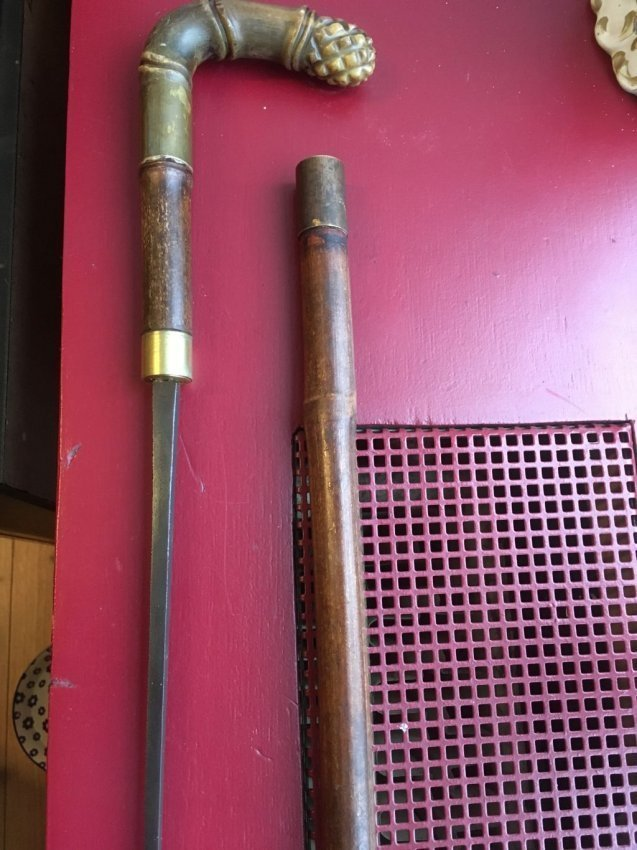 Antique saber walking cane/stick