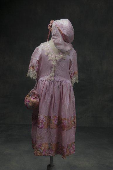 Antique wild silk children's dress with hat and handbag