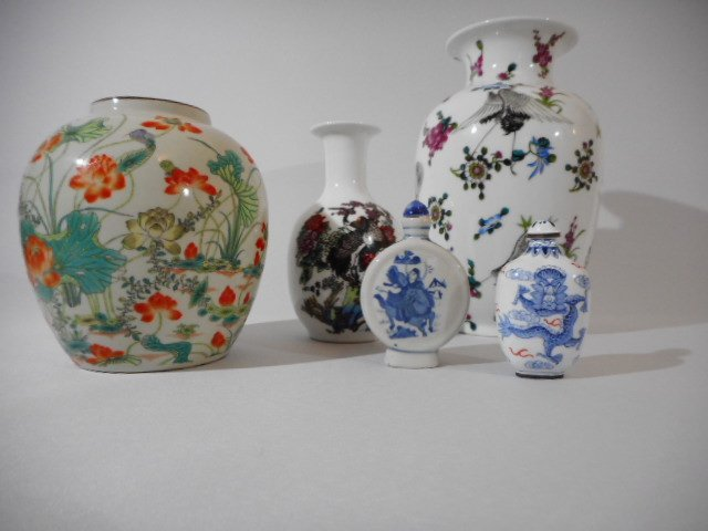 Lot of 5 pc Chinese ceramics