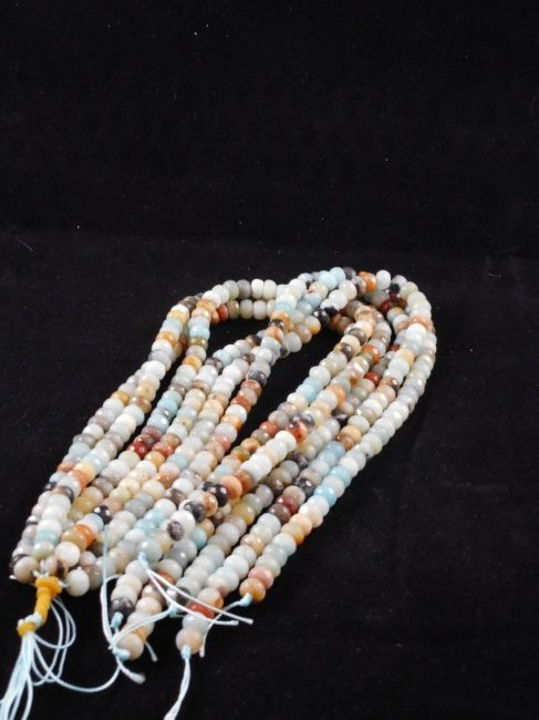 6 strands faceted amazonite rondelle beads