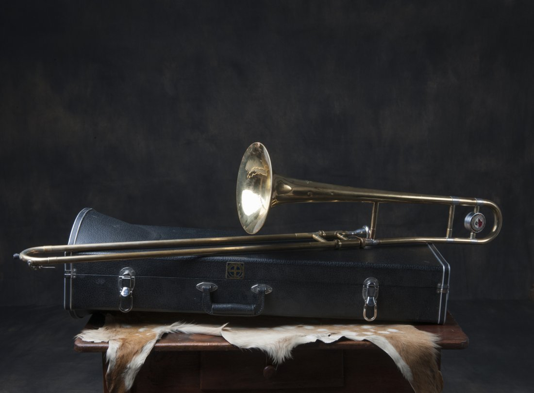 Scroll trombone with case, exact age unknown unknown