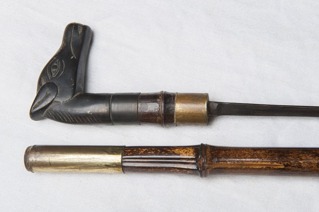 Walking cane with saber / with bronze horse haed