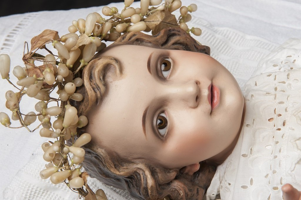 Terracotta Child Jesus glass eyes with mark