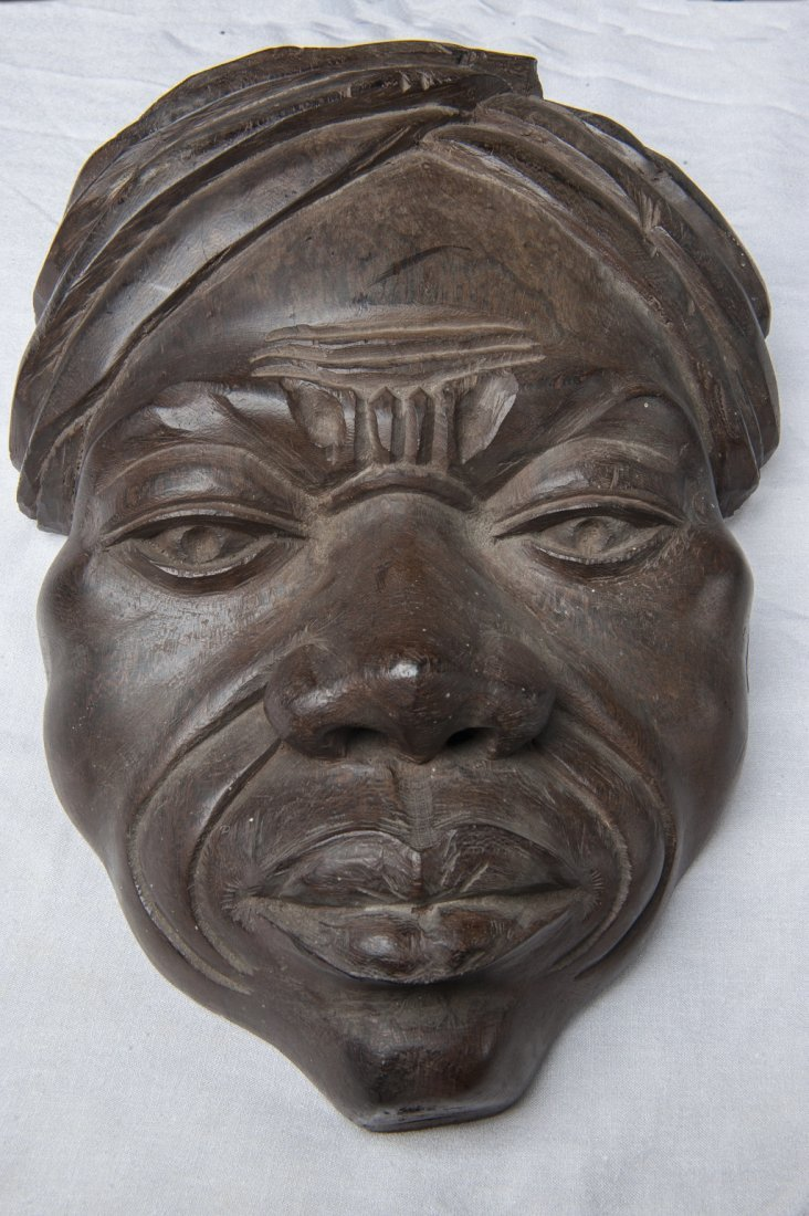 African mask from solid wood