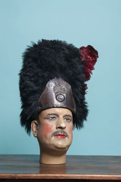 Antique original French grenadiers bearskin