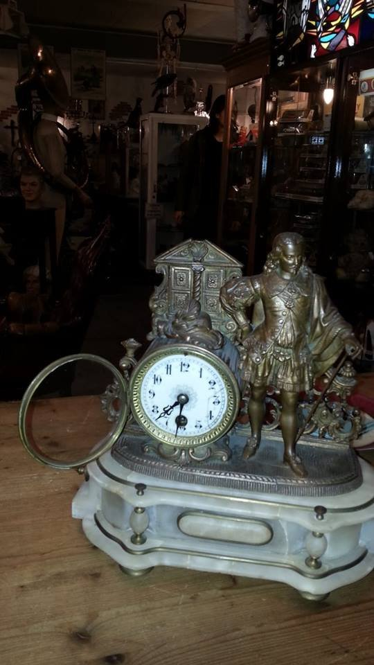 Antique marble and copper mantle clock