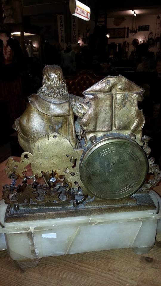 Antique marble and copper mantle clock - 3