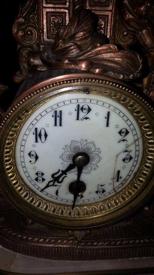Antique marble and copper mantle clock - 4