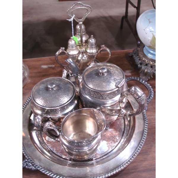 14: Silverplate Tea & Castor set