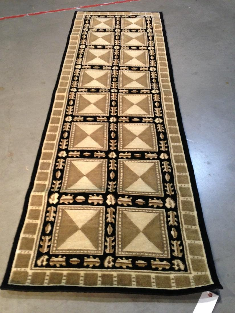 CONTEMPORARY DESIGN WOOL HAND KNOTTED RUNNER 2.6x8