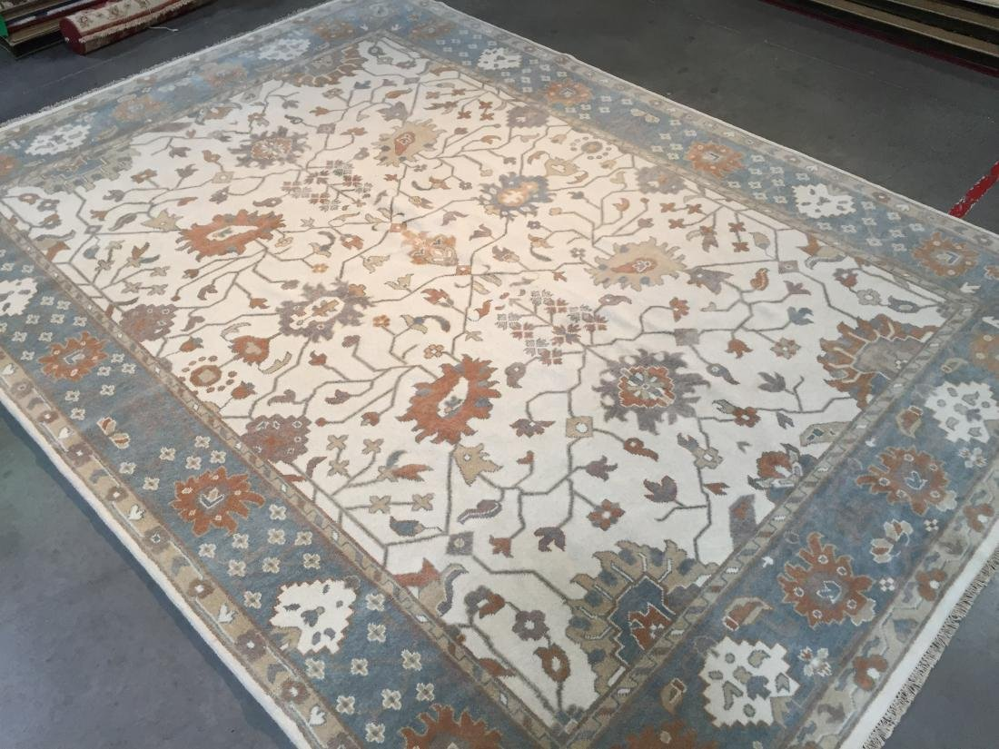 """ANTIQUE REPRODUCTED HAND-KNOTTED """"OUSHAK"""" WOOL RUG 9x12"""