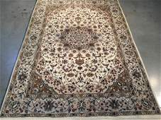 SILK & WOOL PERSIAN KASHAN HAND KNOTTED WOOL RUG 4X6