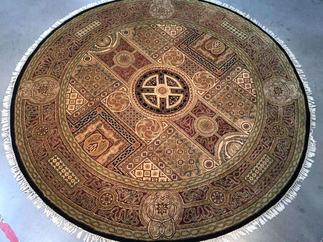 HAND KNOTTED WOOL JAPUR AREA ROUND 8x8