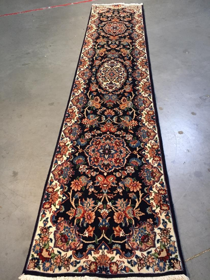 AUTHENTIC,FINE PERSIAN HAND KNOTTED SILK &WOOL RUNNER