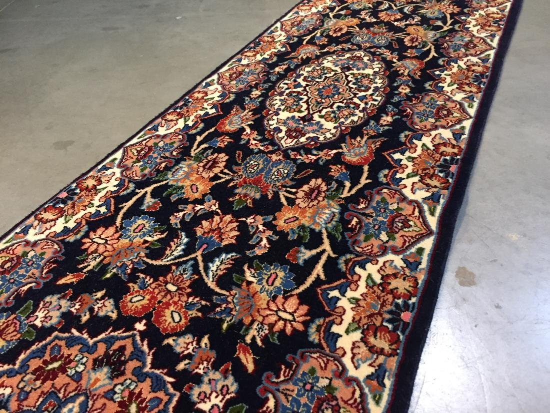AUTHENTIC,FINE PERSIAN HAND KNOTTED SILK &WOOL RUNNER - 2