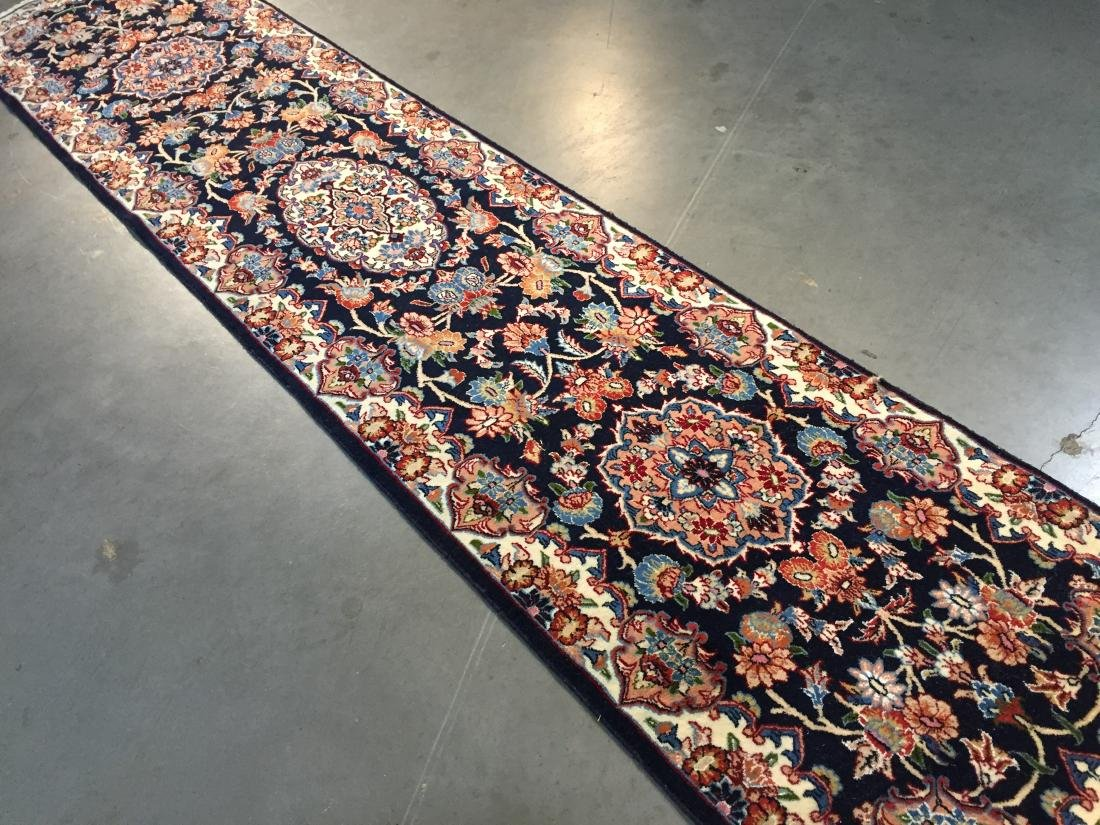 AUTHENTIC,FINE PERSIAN HAND KNOTTED SILK &WOOL RUNNER - 3