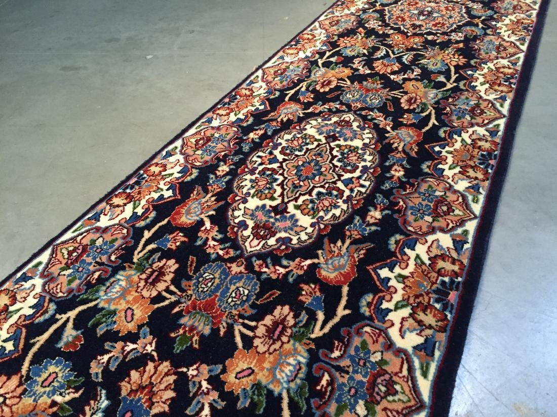 AUTHENTIC,FINE PERSIAN HAND KNOTTED SILK &WOOL RUNNER - 4