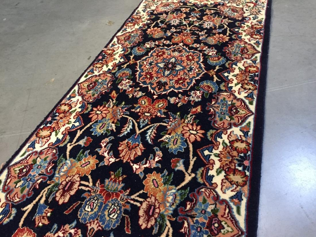 AUTHENTIC,FINE PERSIAN HAND KNOTTED SILK &WOOL RUNNER - 6