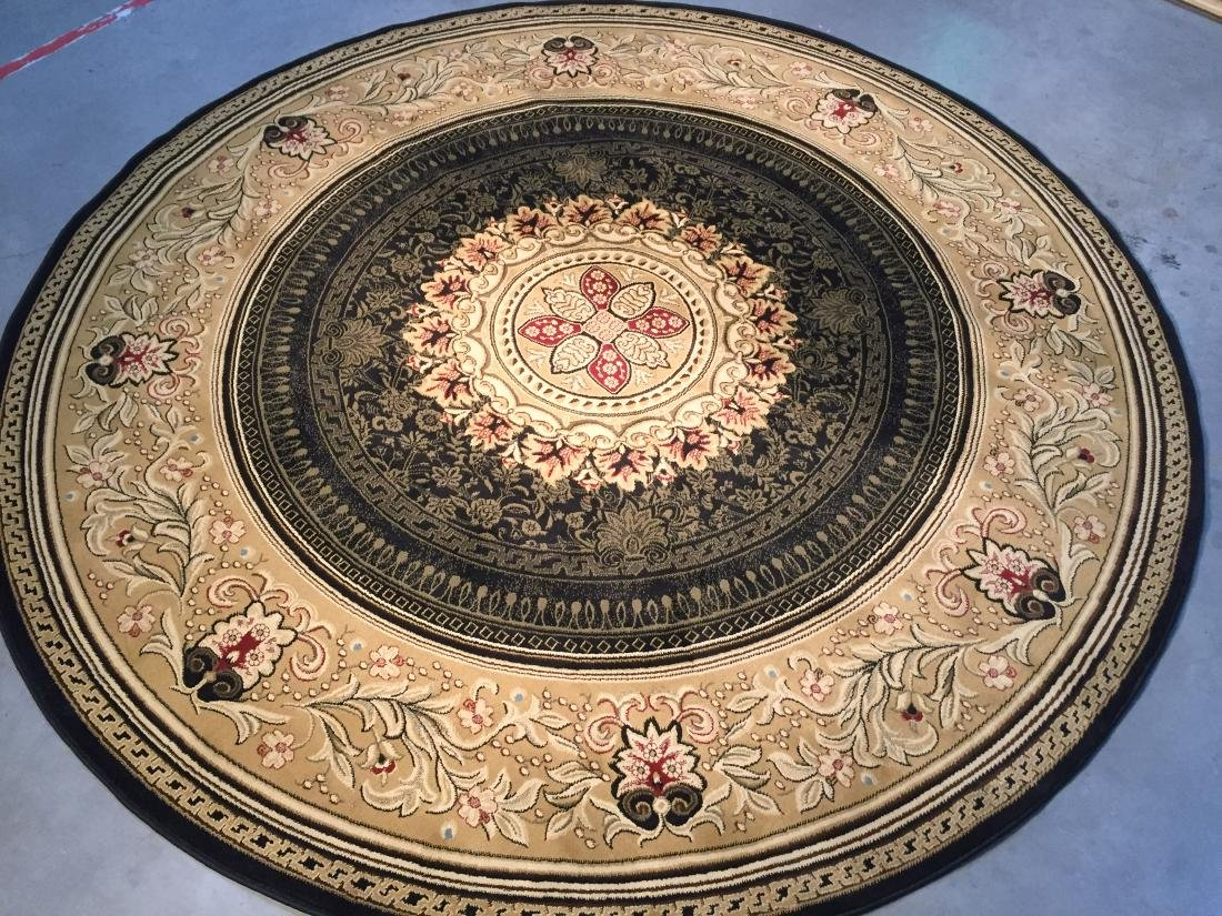 FRENCH AUBUSSON DESIGN ROUND RUG 8x8