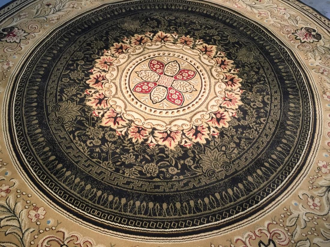 FRENCH AUBUSSON DESIGN ROUND RUG 8x8 - 3