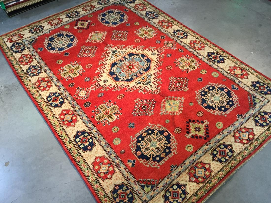 "HAND KNOTTED WOOL AUTHENTIC ""KAZAK""  RUG 6x9"