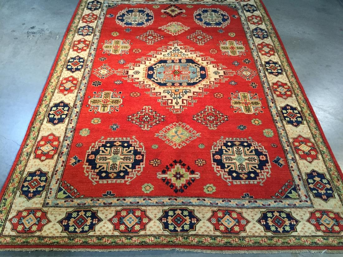"HAND KNOTTED WOOL AUTHENTIC ""KAZAK""  RUG 6x9 - 2"