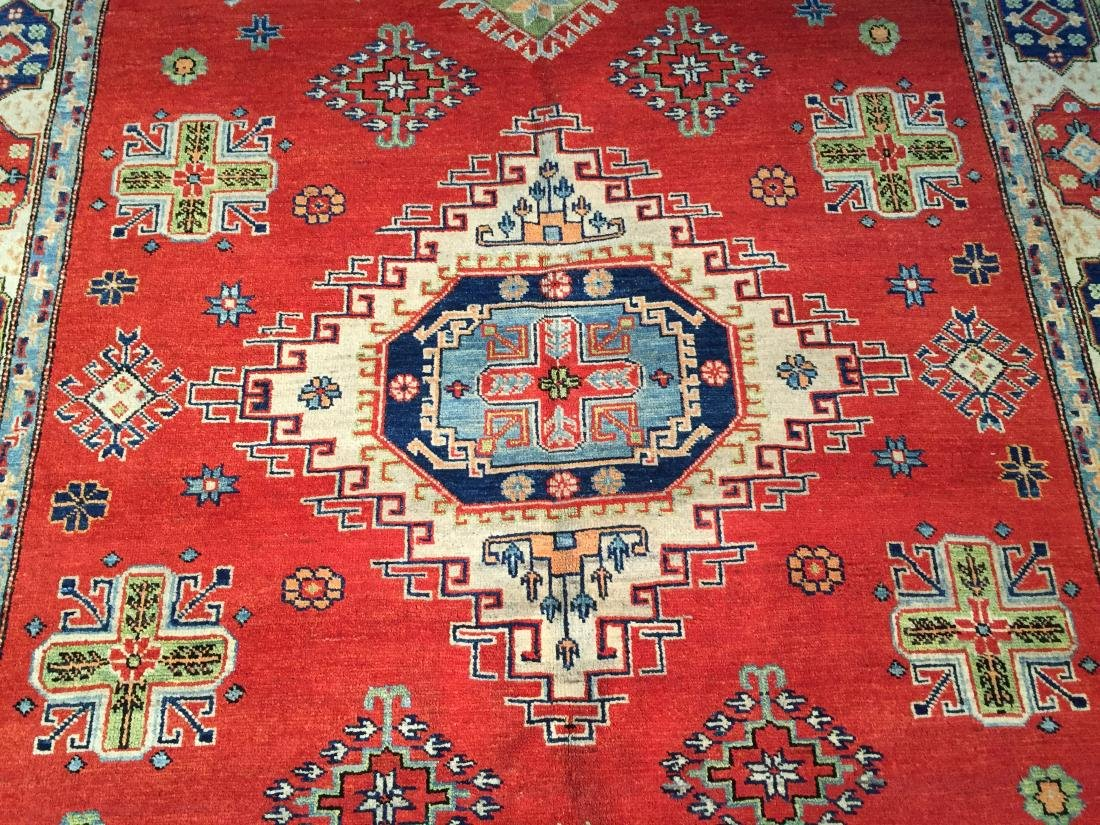 "HAND KNOTTED WOOL AUTHENTIC ""KAZAK""  RUG 6x9 - 4"