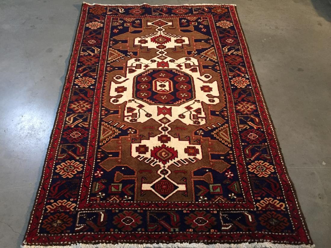 AUTHENTIC PERSIAN HAMEDAN HAND KNOTTED WOOL RUG 5'X7'