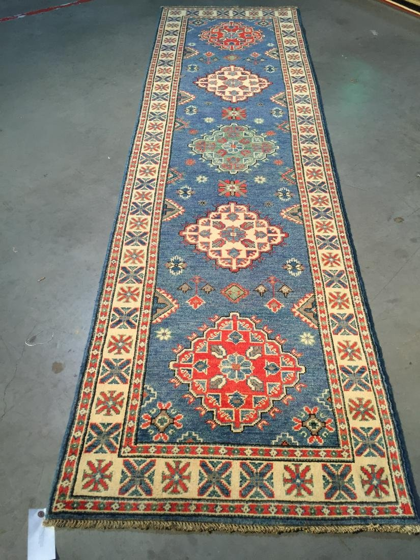 """AUTHENTIC HAND KNOTTED WOOL """"KAZAK"""" RUNNER 3x10"""