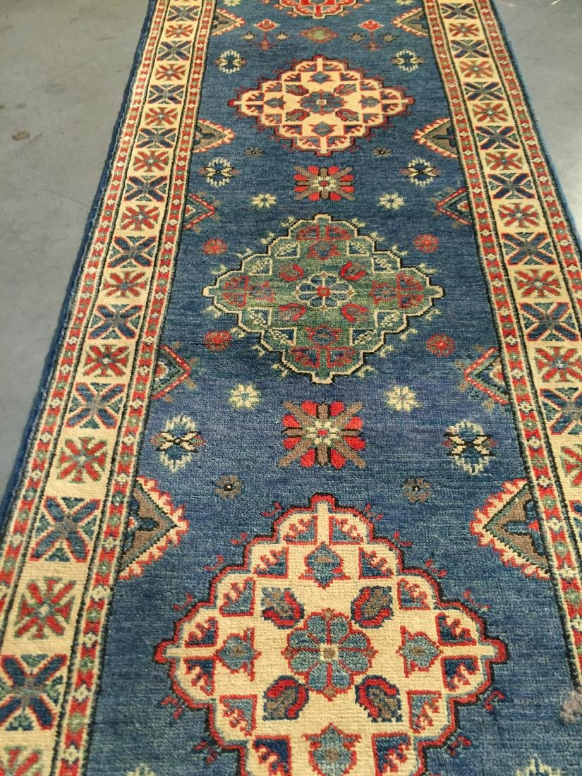 "AUTHENTIC HAND KNOTTED WOOL ""KAZAK"" RUNNER 3x10 - 6"