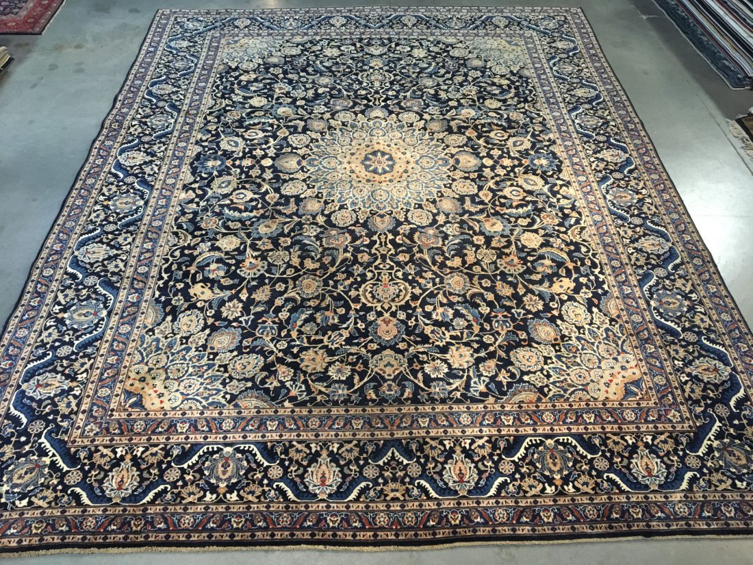 "MAGNIFICENT SEMI ANTIQUE PERSIAN KASHMAR RUG 9'.7""X12'"