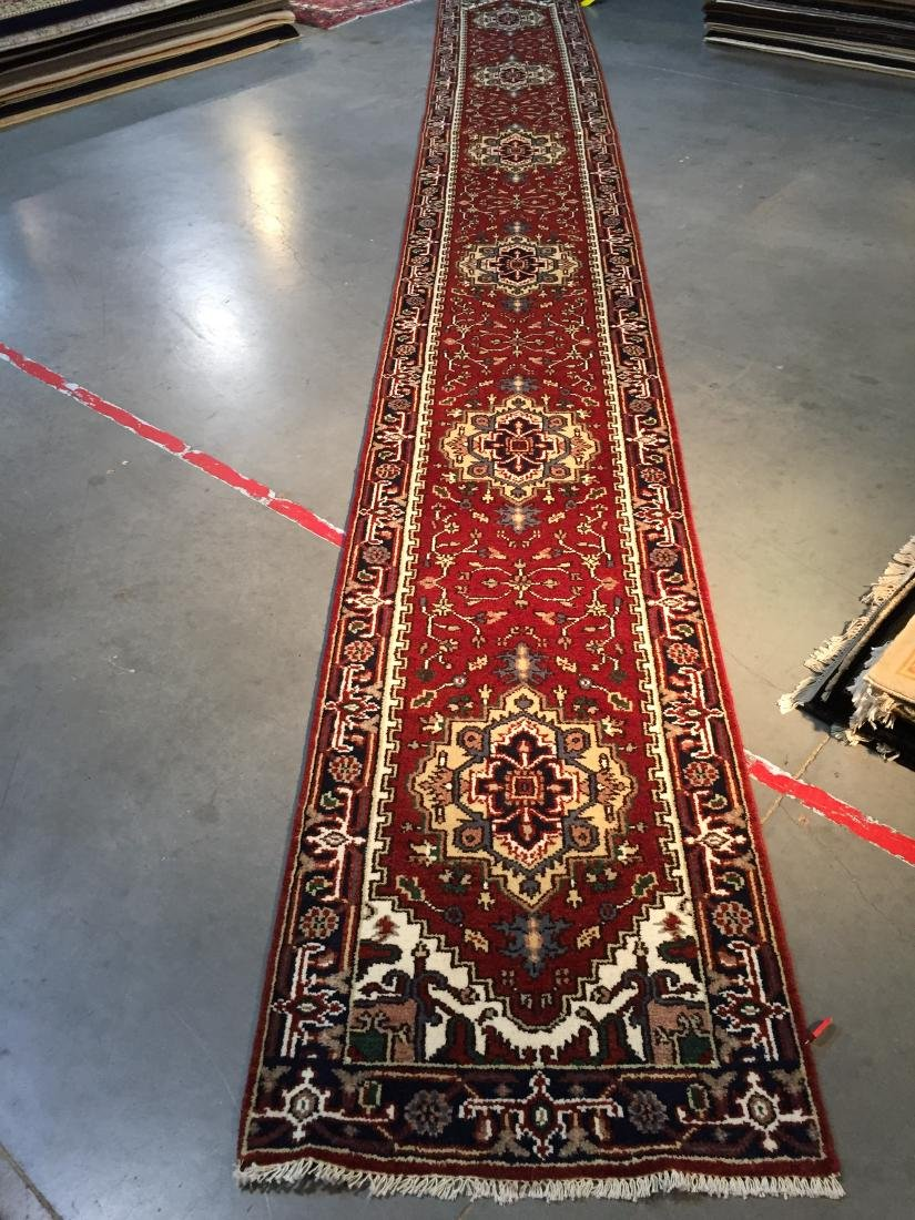 """MAGNIFICENT HAND-KNOTTED """"SERAPI""""  WOOL RUNNER 2.6X20'"""
