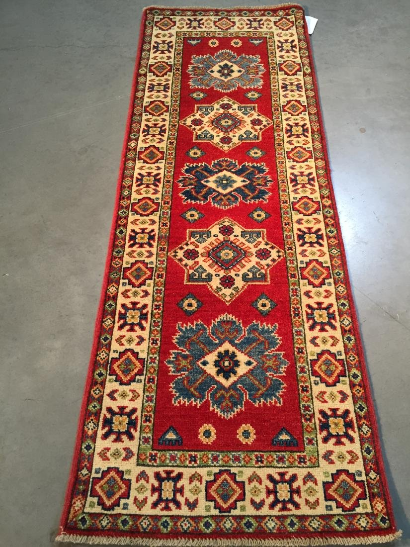 "AUTHENTIC HAND KNOTTED WOOL  ""KAZAK"" RUNNER 2'X6'"
