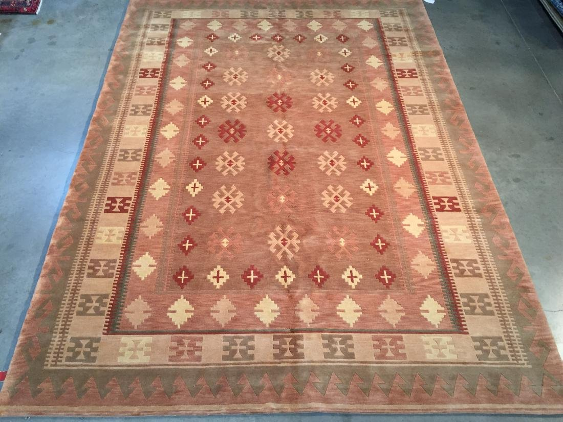 UNIQUE NAVAJO STYLE WOOL HAND KNOTTED  RUG 8x11