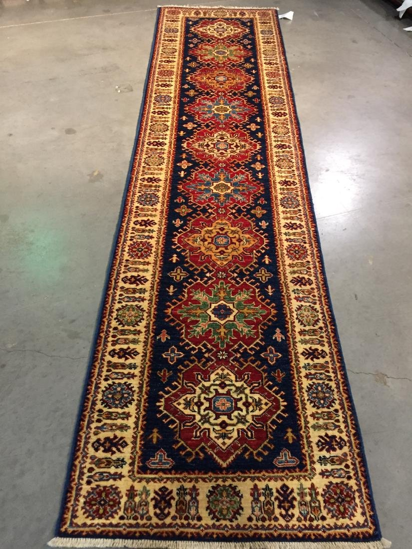 """AUTHENTIC HAND KNOTTED WOOL """"KAZAK"""" RUNNER 3x9"""
