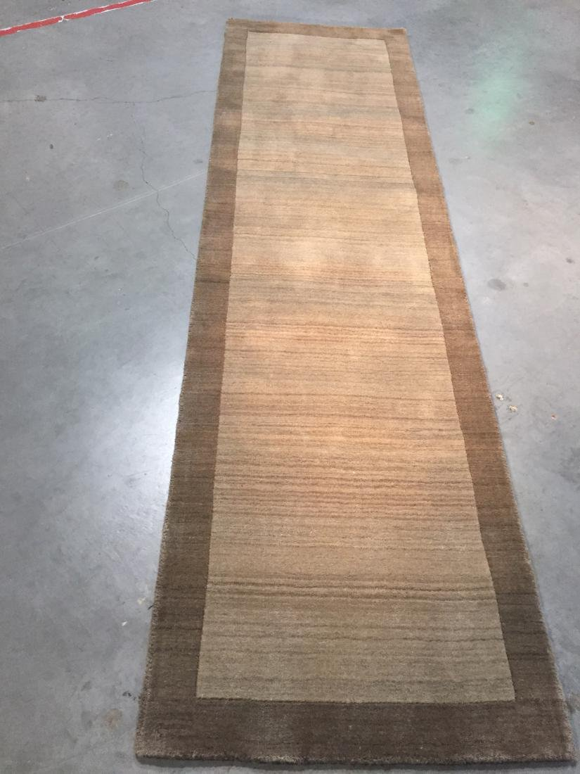 SOLID TWO TONE DESIGN HAND MADE & CARVED WOOL RUNNER