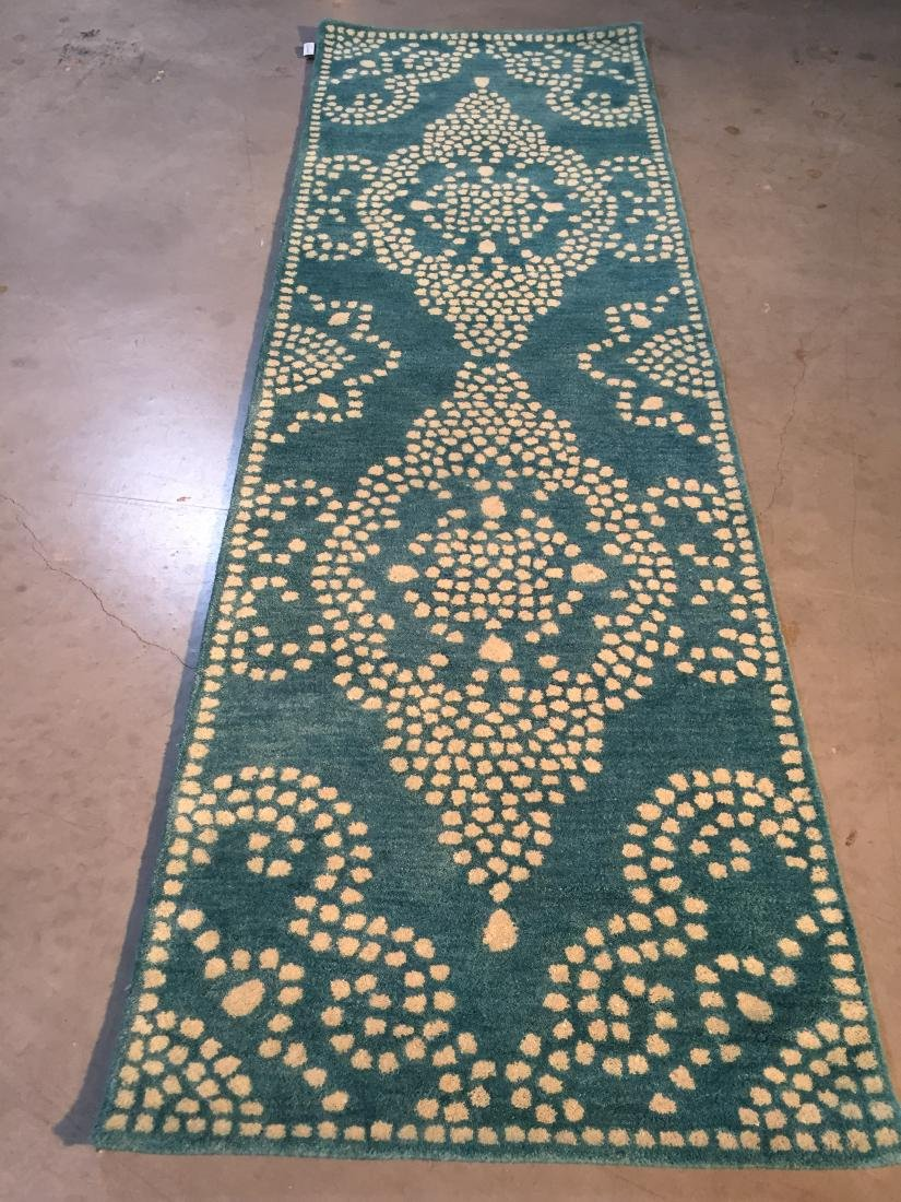 MODERN HAND MADE & CARVED WOOL RUNNER 2.6x9