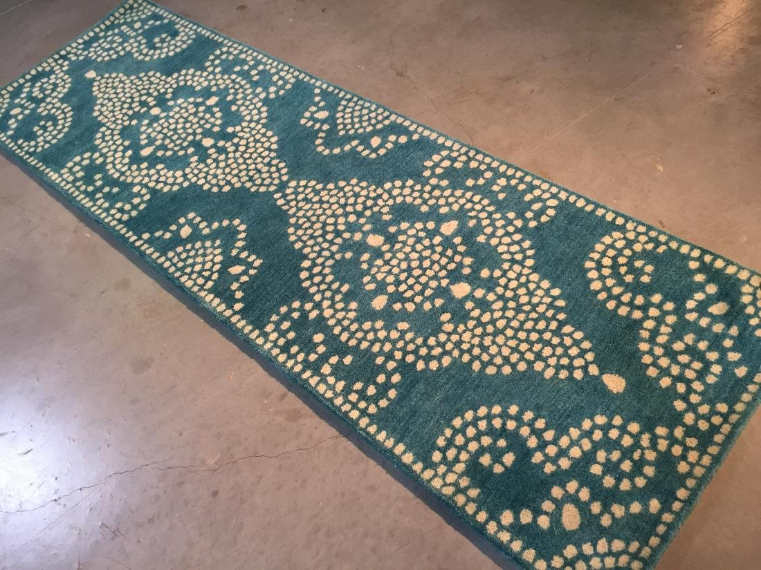 MODERN HAND MADE & CARVED WOOL RUNNER 2.6x9 - 2