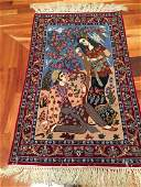 FINE AUTHENTIC SILK  WOOL  ISFAHAN PICTORIAL RUG 23x4