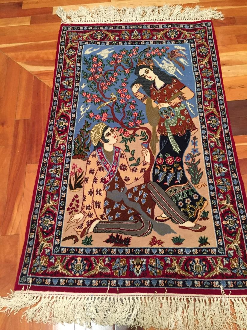 FINE AUTHENTIC SILK & WOOL  ISFAHAN PICTORIAL RUG 2.3x4