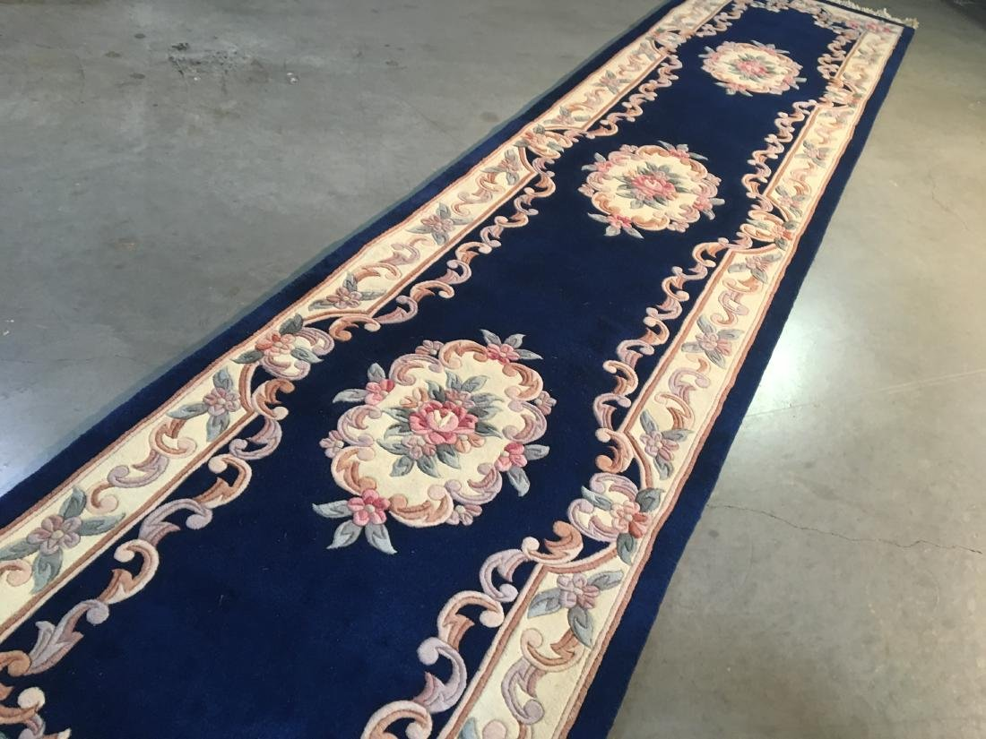 Hand Knotted Carved Peking runner 2.6x12 - 2