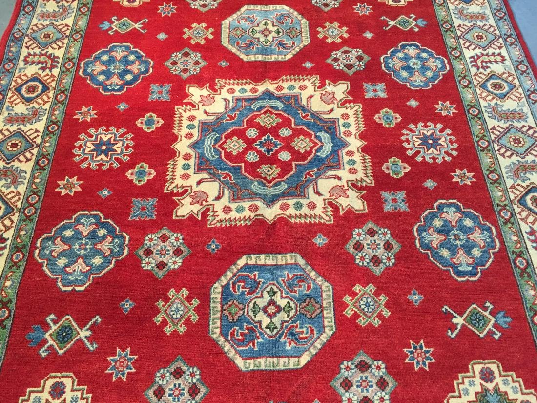 AUTHENTIC HAND KNOTTED WOOL SUPER KAZAK 6.2x9 - 8