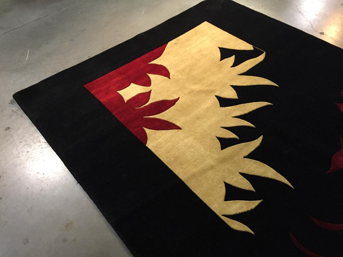 MAGNIFICENT MODERN HAND KNOTTED CARVED WOOL RUG 6x9 - 3