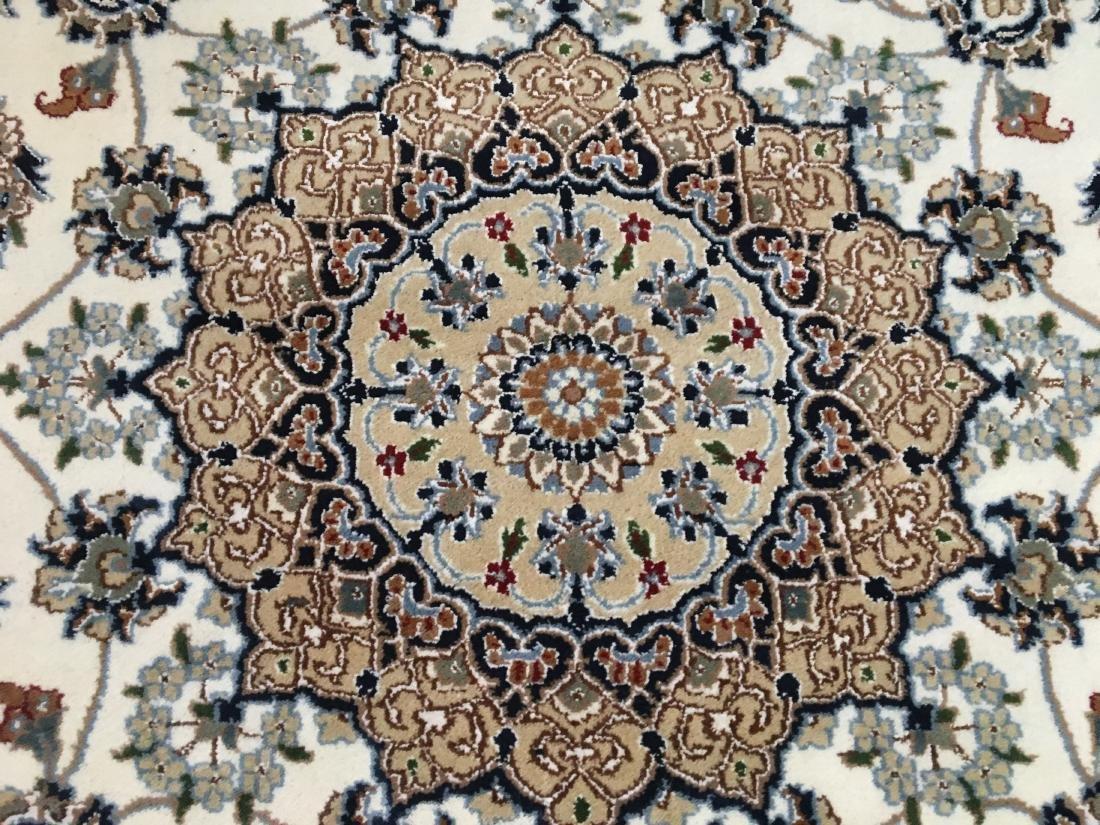 SILK & WOOL PERSIAN NAIN HAND KNOTTED WOOL RUG 9x12 - 7