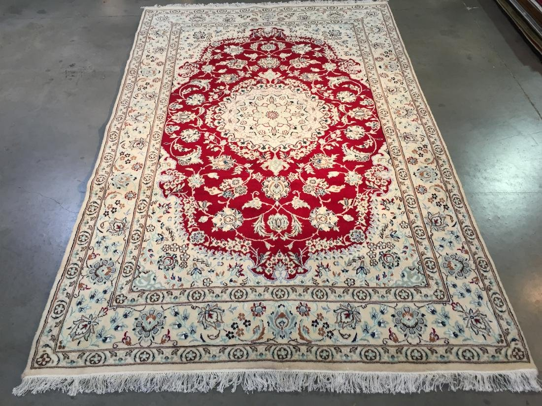 "MAGNIFICENT SILK &WOOL PERSIAN NAIN RUG 6'.7""x10'.2"""