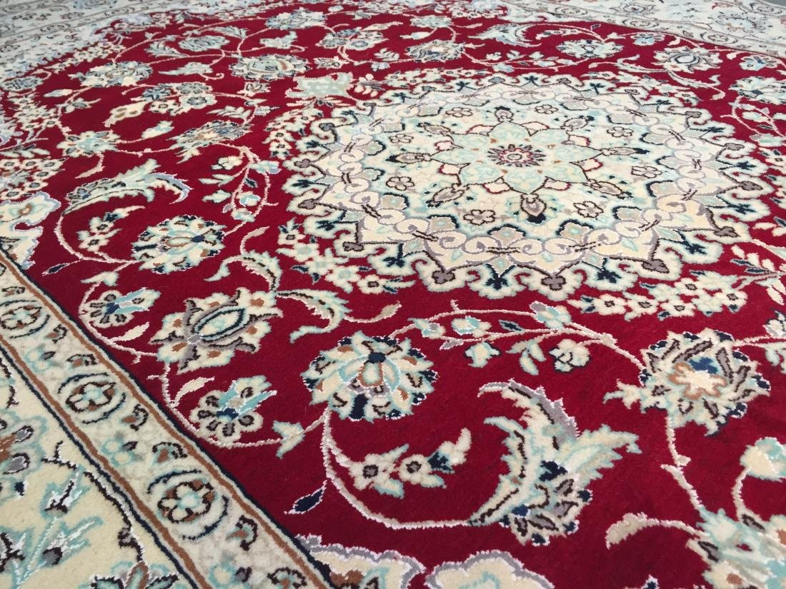 "MAGNIFICENT SILK &WOOL PERSIAN NAIN RUG 6'.7""x10'.2"" - 7"