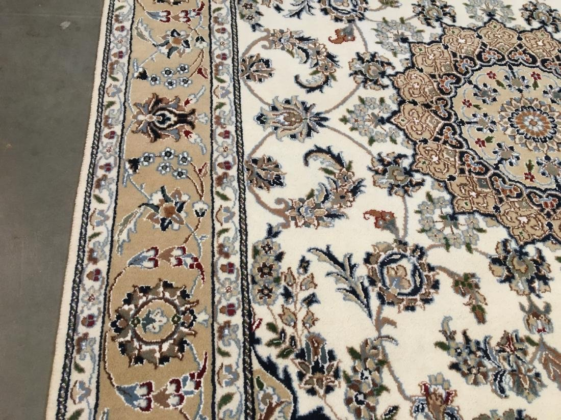 SILK & WOOL PERSIAN NAIN HAND KNOTTED WOOL RUG 9x12 - 5