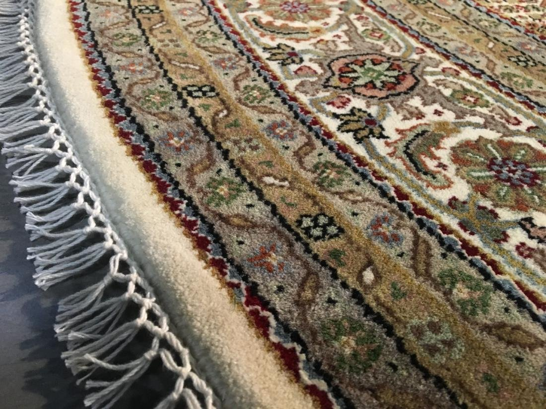 FINE HAND-KNOTTED PERSIAN SILK AND WOOL  TABRIZ RUG 6' - 5