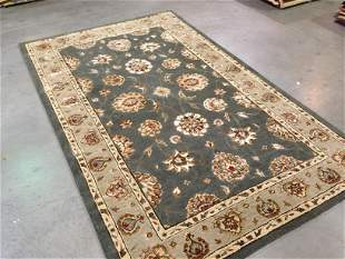HAND MADE WOOL & SILK AREA RUG 5x8